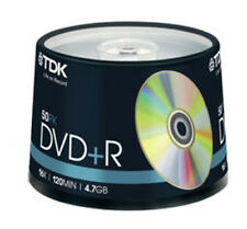 50 Spindle TDK DVD+R 4.7GB 120Min Blank DVDR Recordable Disc Discs DVDS Data
