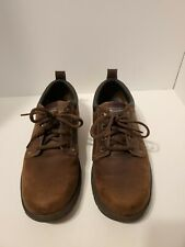 Sketcher's Men's Brown Leather Oxford Shoe Sz 11 Memory Foam Relaxed Fit EUC