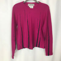 Carlisle Hot Pink Wool Mohair Blend Knit Long Sleeve Sweater Womens Size Large