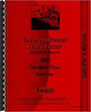 Ih International 496 Tandem Disc Harrow Owners Operators Manual