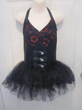 Red Black Lace Buckle Hip Hop Jazz Dance Costume Medium Adult MA