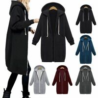 US Plus Size Women Long Sleeve Zip Up Hooded Hoodie Jacket Jumper Cardigan Coat