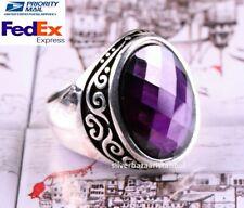 Turkish handmade 925 Sterling Silver purple NEW AMETHYST Stone Men ring ALL SİZE