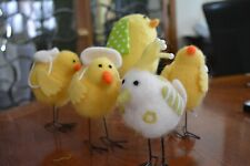 Easter Yellow Felted Birds & Chicks with Basket Backpack Set/5 Cute & Fuzzy NEW