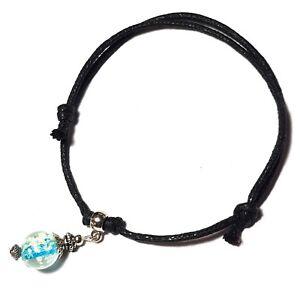 Black Cord Glow in Dark Ankle Bracelet Adjustable Anklet Silver Luminous Bead