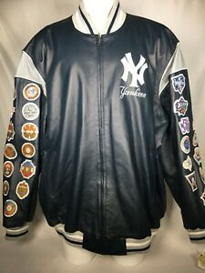 NY New York Yankees Men's Blue Jacket Leather 26 X World Series Patches 4XL NWT