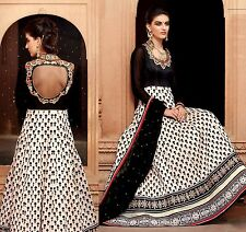 CREAM KOTA SILK DESIGNER ANARKALI SALWAR KAMEEZ SUIT DRESS MATERIAL LADIES DEN