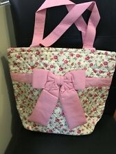 New NaRaYa Lovely Medium Size Pink Floral Cotton Handmade Shoulder Tote Bag