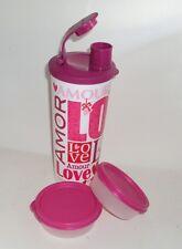 New Tupperware Vtg Style 16oz Tall Iced Tea Tumbler 2 Mini Half Snack Cups Love