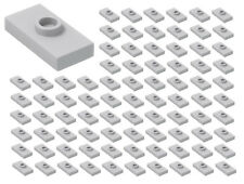 ☀️ LEGO GRAY 100x Plate Modified 1x2 1 Stud w/ Groove Bottom Stud Holder Jumper