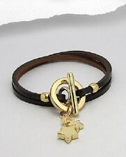 Ladies Genuine Black Leather Gold Star Charm Wristband Wrap Strap Bracelet