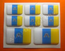 8 x Pegatinas 3D Relieve Bandera Islas Canarias - Todas las Banderas del MUNDO