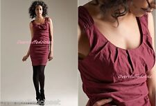 NWT $318 Eileen Fisher Shirred Ruched Cotton Steel Stitch Dress Cranberry 8 Med