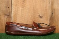 L.L. BEAN Model No. 197690 Brown Leather Double Sole Moccasin Slippers Men's 13D