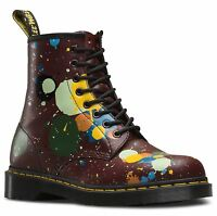 Dr Martens Unisex 1460 Cherry Red Paint Splatter Smooth Leather 8 Eye Boots