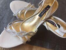 49aaef9f00 NEW NINA NY CHAMPAGNE satin sexy evening wedding strappy heels US 9  rhinestones