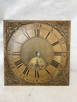 Antique 18thC Brass Longcase Clock Face. John Bennett Helstone (Heston) Cornwall