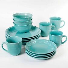 16-Piece Round Dinnerware Set, Kitchen Stoneware Plates, Dishes, Service Bowls