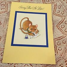 Vintage Greeting Card Birthday Mouse Writing Note