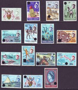 Turks & Caicos Islands 1971 SC 181-195 MNH Set