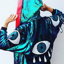 ALL OVER IRIDESCENT SEQUIN EYE UNIVERSE TROPHY HOOD BOMBER JACKET DISCOUNT VTG