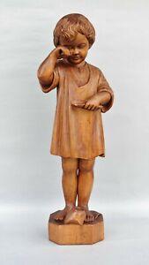 Große Skulptur - weinendes Mädchen Kind - Holz Schnitzerei um 1930 - 56 cm