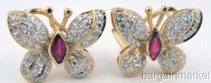 14K Gold Genuine Ruby & Diamond Omega Clip Earrings