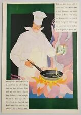 1927 Print Ad Wesson Oil Happy Chef with Pan Over Flames Abstract Art
