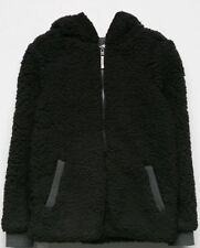 NWT ROXY GIRLS SHARE NEW WORDS BLACK SHERPA ZIP HOODIE JACKET L LARGE 12 NEW