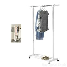 Wonderful Whitmor Deluxe Adjustable Garment Rack, With Wheels Adjustable Height New