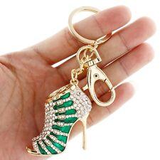 High Heel Shoe Key Ring Chain Purse Charm Rhinestone Crystal Green Enamel New