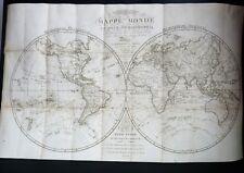 3 VOYAGES DE COOK Mappemonde en deux hémisphères CARTE 81X55cm HERISSON 1795
