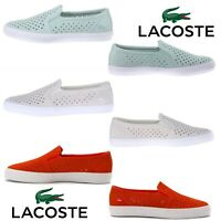 Lacoste Gazon Slip On Flat Shoes NEW Women Leather Canvas Fashion Sneakers