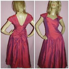 80s RASPBERRY RED BOW BACK PRINCESS PROM PARTY DRESS 14 M 1980s BRIDESMAID
