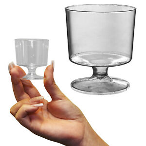 2oz 60ml Essential Party BBQ Wedding Disposable Clear Plastic Wine Glass Goblets