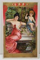 Valentine Greetings Beautiful Woman & Child Embossed Gold Gild 1909 Postcard B21