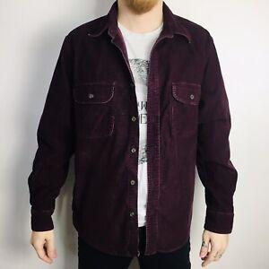 Vintage CORDUROY Shirt Medium Long Sleeve Burgundy
