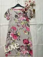 Joules Size 8 grey floral stretchy jersey summer casual dress Riviera print VGC