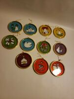 Religious Christmas Tree Ornaments Decorations Set of 11 Circle Holidays