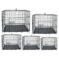 Dog Crate Cage Training Metal Travel Pet Cat Puppy 2 Doors Carrier Portable Vet