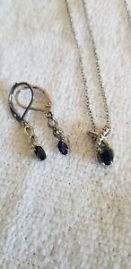Kanchanaburi Blue Sapphire Pendant And Earrings