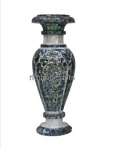 12 Inches Marble Planter Inlay with Abalone Shell Stone Royal Work Flower Pot