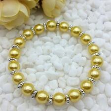 NEW Wholesale Fashion Jewelry 8mm Gold Yellow Water Pearl Beads Stretch Bracelet