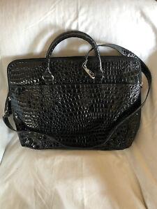 Bueno Black Faux Leather Croc LapTop Satchel Briefcase Tote Shoulder Bag NWOT