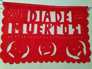 "MEXICAN PLASTIC PAPEL PICADO DAY OF THE DEAD MULTI-COLOR SIZE SMALL 10""X6"""