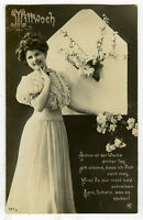 c 1909 Lovely German FASHION BEAUTY glamour photo postcard