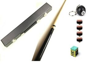"""57"""" 2 PIECE CENTER SPLIT POOL CUE With HARD CASE, TRIANGLE CHALK & 4 TIPS SET"""