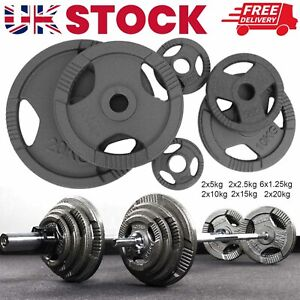 2*10kg Cast Iron Olympic Weight Plates Home Gym Weights Training Discs Lifting