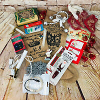 VTG Junk Drawer Christmas Decorations Lights Santa Doves burlap stocking & more