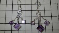 Chandelier Sterling Silver Amethyst Fine Earrings